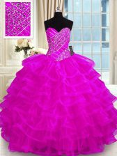 Affordable Organza Sweetheart Sleeveless Lace Up Beading and Ruffled Layers 15th Birthday Dress in Fuchsia