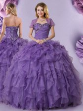 Purple Organza Lace Up 15th Birthday Dress Sleeveless Floor Length Beading and Ruffles