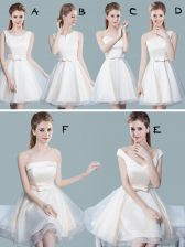 Scoop White A-line Lace and Bowknot Vestidos de Damas Lace Up Tulle Sleeveless Mini Length
