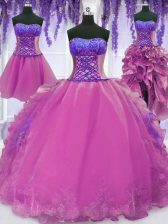Four Piece Organza Sweetheart Sleeveless Lace Up Appliques and Embroidery Quince Ball Gowns in Lilac