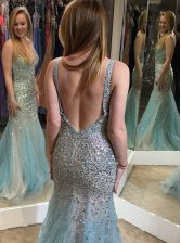 Mermaid Multi-color V-neck Backless Beading Homecoming Dress Sleeveless