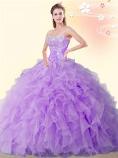 Beading and Ruffles Quinceanera Dresses Eggplant Purple Lace Up Sleeveless Floor Length