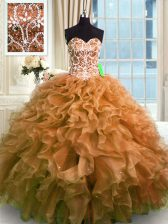 Classical Brown Sweetheart Neckline Beading and Ruffles Vestidos de Quinceanera Sleeveless Lace Up