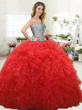 Perfect Sleeveless Tulle Floor Length Lace Up Quinceanera Dress in Red with Beading