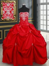 Floor Length Red Quinceanera Dresses Taffeta Sleeveless Beading and Pick Ups