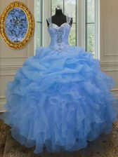 Elegant Blue Organza Zipper Straps Sleeveless Floor Length Quince Ball Gowns Beading and Ruffles