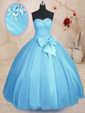 Baby Blue Sweet 16 Quinceanera Dress Military Ball and Sweet 16 and Quinceanera with Beading and Bowknot Sweetheart Sleeveless Lace Up
