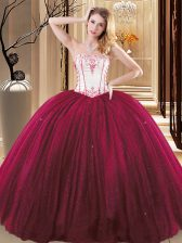Wine Red Ball Gowns Strapless Sleeveless Tulle and Sequined Floor Length Lace Up Embroidery Sweet 16 Dress