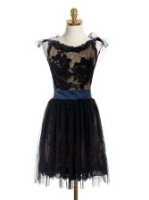Luxurious Scoop Lace and Belt Prom Dresses Black Backless Sleeveless Mini Length
