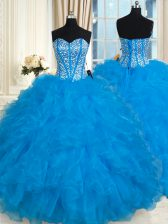 Spectacular Sleeveless Floor Length Beading and Ruffles Lace Up Vestidos de Quinceanera with Baby Blue