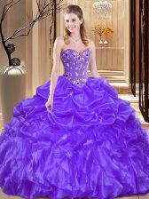 Purple Lace Up 15 Quinceanera Dress Beading and Embroidery Sleeveless Floor Length