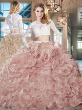 High Quality Scoop Long Sleeves Organza Brush Train Zipper Ball Gown Prom Dress in Pink with Beading and Lace and Ruffles