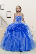 Delicate Sweetheart Sleeveless Organza Kids Formal Wear Beading and Pick Ups Lace Up