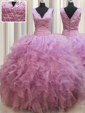 Lilac Ball Gowns Organza V-neck Sleeveless Beading Floor Length Lace Up Sweet 16 Dress