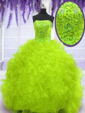Cheap Yellow Green Lace Up Strapless Beading and Appliques and Ruffles Quinceanera Dresses Organza Sleeveless Brush Train