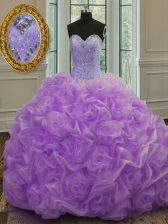 Lavender Sleeveless Organza Sweep Train Lace Up Quinceanera Dresses for Military Ball and Sweet 16 and Quinceanera