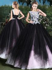High Class Scoop Pink And Black Sleeveless Appliques and Ruffles Floor Length Sweet 16 Quinceanera Dress