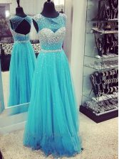 Fashionable Mermaid Aqua Blue Sleeveless Chiffon Sweep Train Zipper Prom Party Dress for Prom and Party