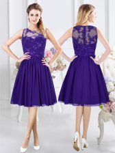 Custom Fit Scoop Chiffon Sleeveless Knee Length Quinceanera Dama Dress and Lace