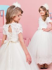 Scoop White Short Sleeves Tea Length Lace and Bowknot Lace Up Flower Girl Dress