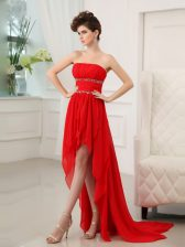 Pretty Sleeveless Zipper High Low Beading and Ruffles Prom Party Dress