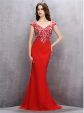 Deluxe Mermaid Sleeveless Sweep Train Beading and Sequins Zipper Prom Dress
