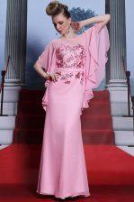 Scoop Floor Length Column/Sheath Half Sleeves Rose Pink Prom Dresses Zipper