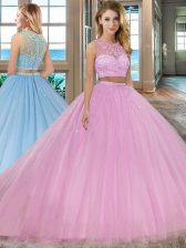 Lilac 15 Quinceanera Dress Military Ball and Sweet 16 and Quinceanera with Beading Scoop Sleeveless Court Train Zipper