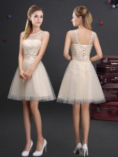 Custom Design Champagne A-line Tulle Scoop Sleeveless Beading and Lace and Appliques and Belt Mini Length Lace Up Quinceanera Dama Dress