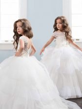 Scoop Short Sleeves Lace and Ruffled Layers and Hand Made Flower Backless Flower Girl Dresses for Less with White Brush Train