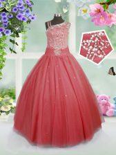 Watermelon Red Sleeveless Floor Length Beading Side Zipper Girls Pageant Dresses