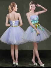 Low Price Lavender A-line Appliques and Belt Prom Dress Lace Up Organza Sleeveless Mini Length