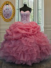 Modest Watermelon Red Sweetheart Neckline Beading and Pick Ups Sweet 16 Quinceanera Dress Sleeveless Lace Up