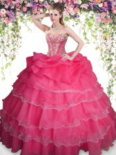 High End Sleeveless Organza Floor Length Lace Up Quinceanera Gown in Coral Red with Beading and Ruffled Layers and Pick Ups