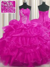 Designer Pick Ups Ruffled Ball Gowns Quinceanera Dresses Hot Pink and Fuchsia Strapless Organza Sleeveless Floor Length Lace Up