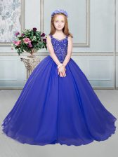 Dramatic Straps Royal Blue Organza Lace Up Little Girls Pageant Dress Sleeveless Floor Length Beading