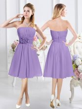 Cute Sleeveless Chiffon Knee Length Zipper Dama Dress in Lavender with Ruching and Hand Made Flower