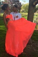 Ideal Halter Top Orange Red A-line Beading Prom Dress Backless Chiffon Sleeveless With Train