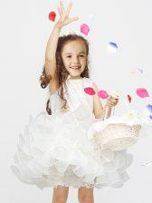Sexy Mini Length White Toddler Flower Girl Dress Scoop Sleeveless Zipper