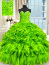 Nice Organza Lace Up Sweet 16 Quinceanera Dress Sleeveless Floor Length Beading and Ruffles and Ruching