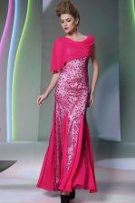 On Sale Mermaid Scoop Sleeveless Zipper Floor Length Beading Dress for Prom