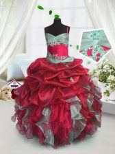 Red Organza Lace Up Spaghetti Straps Sleeveless Floor Length Little Girl Pageant Gowns Beading and Ruffles
