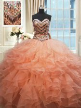 Charming Beaded Bodice Orange and Peach Ball Gowns Sweetheart Sleeveless Organza Floor Length Lace Up Beading and Ruffles 15th Birthday Dress