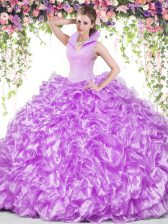 Trendy Lilac Ball Gowns Organza High-neck Sleeveless Beading and Ruffles Floor Length Backless Sweet 16 Dress