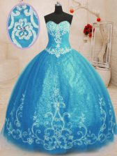 Baby Blue Sleeveless Floor Length Beading and Embroidery Lace Up Quince Ball Gowns