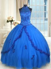 Halter Top See Through Sleeveless Beading and Appliques Lace Up 15 Quinceanera Dress