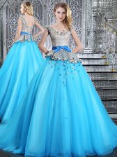 Baby Blue Vestidos de Quinceanera V-neck Sleeveless Brush Train Lace Up