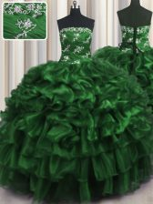 Beautiful Dark Green Ball Gowns Organza Strapless Sleeveless Appliques and Ruffles and Ruffled Layers Floor Length Lace Up 15 Quinceanera Dress