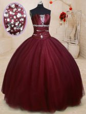 Flirting Floor Length Burgundy Quince Ball Gowns Strapless Sleeveless Lace Up