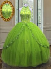 On Sale Sleeveless Tulle Floor Length Lace Up Sweet 16 Quinceanera Dress in Yellow Green with Beading and Appliques